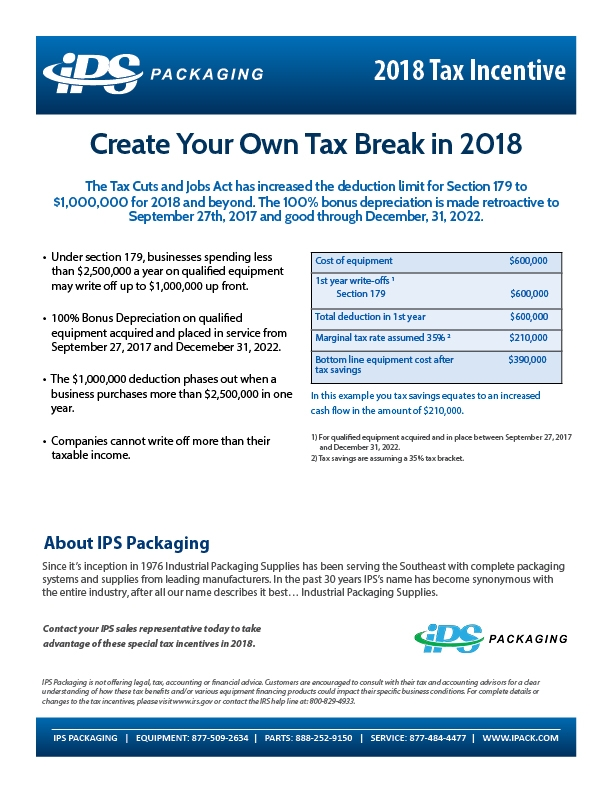 2018 equipment tax incentive - Section 179