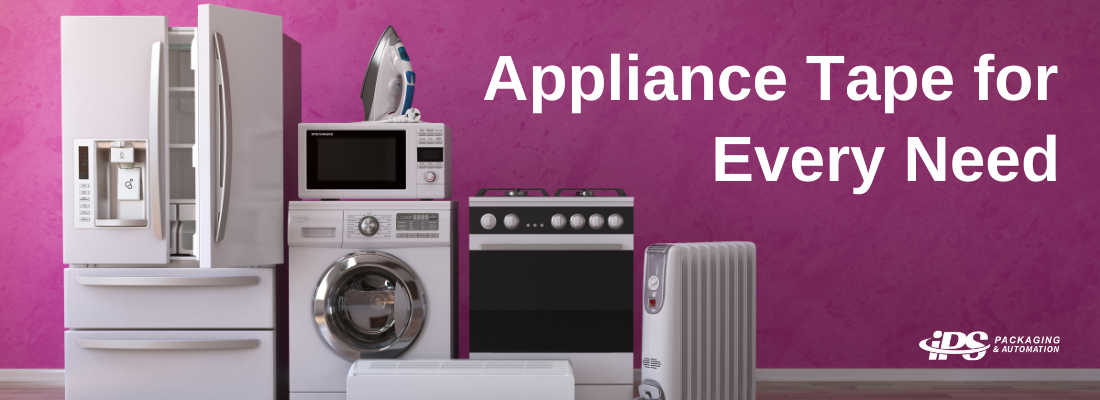 group of household appliances including refrigerator, oven, washing machine, and air conditioner on left in front of purple wall with white text reading appliance tape for every need on right