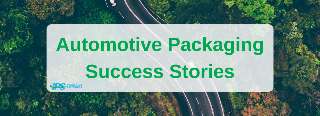automotive packaging success stories text on background with winding road and green trees