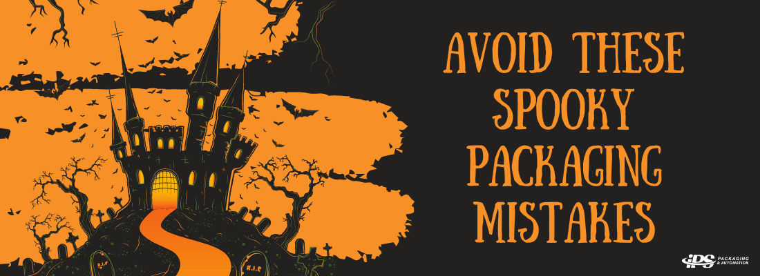 black and orange image with haunted castle, bats, and halloween looking text reading avoid these spooky packaging mistakes