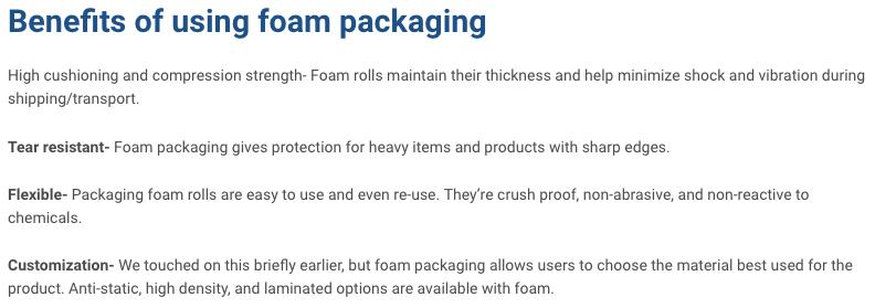 foam packaging benefits - IPS Packaging