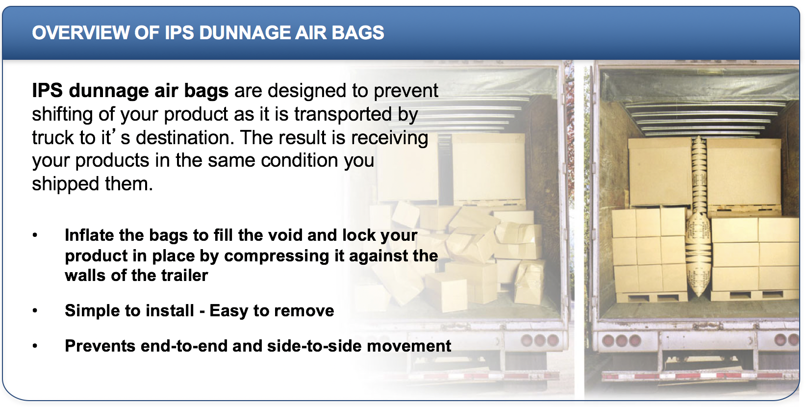 dunnage air bags - IPS Packaging overview