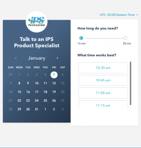 schedule a meeting with a packaging specialist
