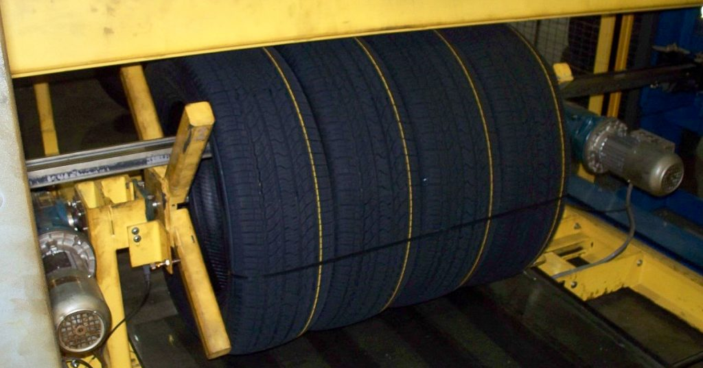automotive packaging strapping tires together