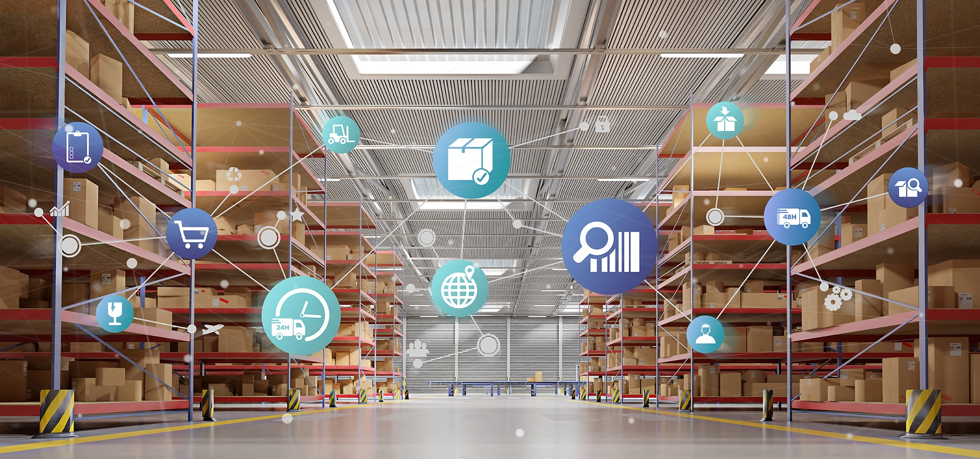 stacked warehouse shelves with blue and green icons representing buying process laid overtop